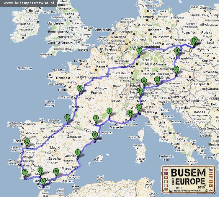 busem przez swiat mapa trasa busem przez europe
