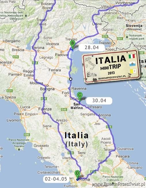 trasa italia trip busem przez swiat