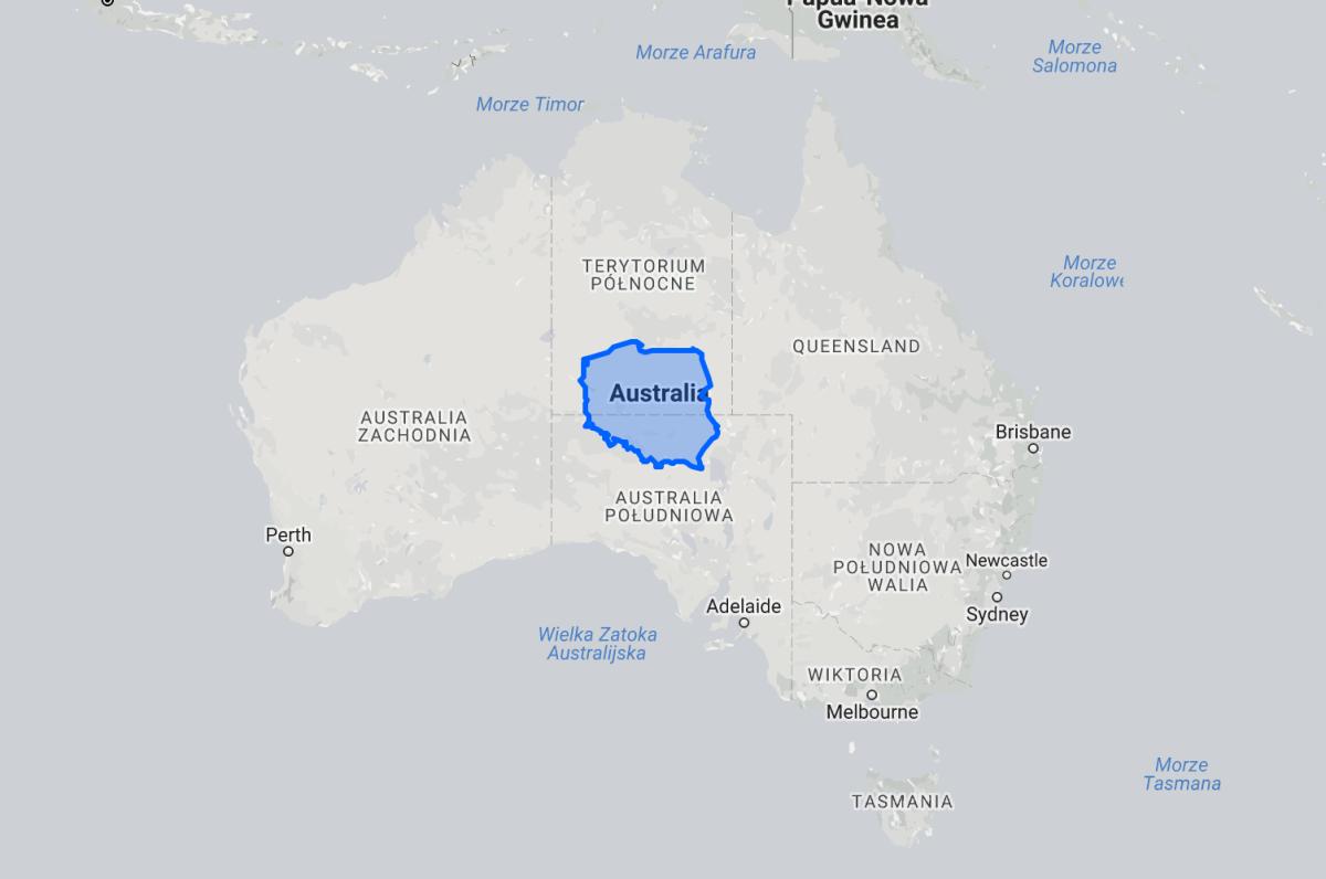 mapa wielkość australii i polski