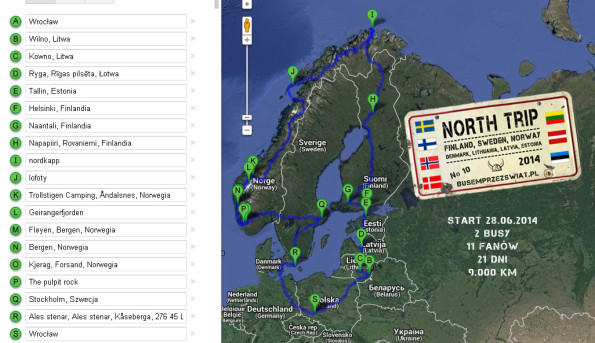 north trip trasa mapa