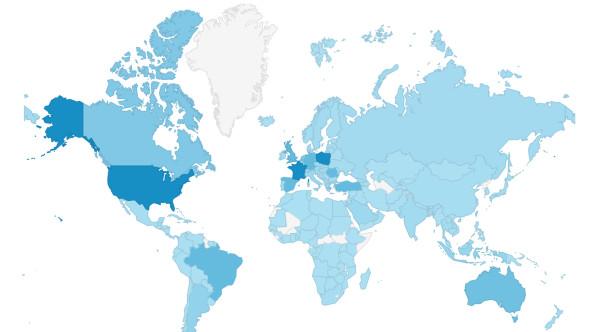 z tych państw odnotowaliśmy wejścia na naszego bloga